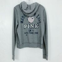 Victoria's Secret PINK 'Made With Love' Gray Pullover Hoodie Sweatshirt - LARGE