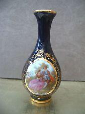 Blue / Gilt Limoges Single Stem  Vase  Fragonard scene 13cm tall FREE UK POSTAGE