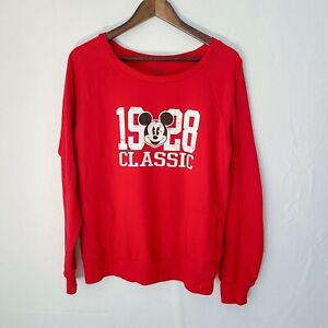 EUC Disney 1928 Classic Mickey Mouse Sweatshirt Red Kids Youth Size XL