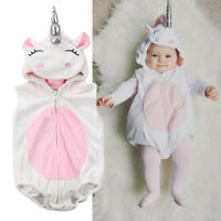 Cute Unicorn Baby Costume Unisex Kids Jumpsuit Romper Outfits Hooded Clothes