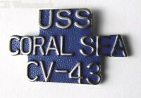 USS CORAL SEA AIRCRAFT CARRIER US NAVY SCRIPT LAPEL PIN 1 INCH
