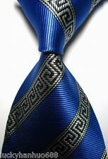New Patterns Stripes Blue Black White JACQUARD WOVEN 100% Silk Men's Tie Necktie