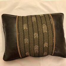 decorative faux dark brown alligator leather pillow with fabric insert cord trim