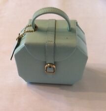DULWICH DESIGNS Jewelry Leather Travel Case Sections Small Light Blue