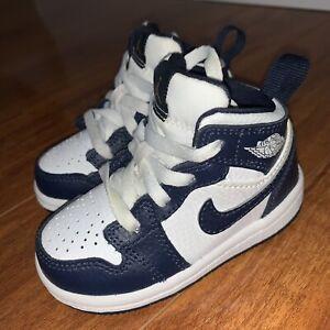 Nike Air Jordan 1  mid White/Obsidian/Gold Toddler  Shoes 5c
