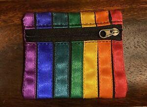 Sm Satin Rainbow Purse With Zip. Hippie Festival Gay Pride ❤️🧡💛💚💙💜
