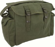 HEAVY DUTY ARMY STYLE GREEN CANVAS MESSENGER / SIDE BAG / MAN BAG WITH POCKETS