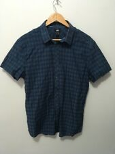 Pre-loved ''H & M'' Blue- Checked Short- sleeved Shirt  Size L