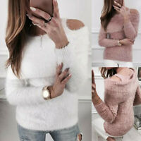 Womens Fluffy Knit Sweater Jumper Tops Ladies Cold Shoulder Long Sleeve Pullover