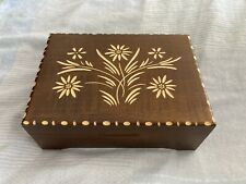 More details for reuge swiss wooden floral music box - plays edelweiss - working - free p&p