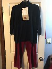 CHICO'S BLACK SHRT SLEEVE SWEATER XL + RED LIZ CLARBORNE CORDS XL + NECKLACE