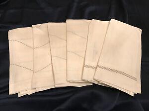 FAB! Set of 6 Waterworks White w Blue & Beige Stitching 100% Linen Guest Towel
