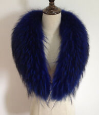 """Blue Real Raccoon Fur Collar scarf wrap shawl winter neck warmer 31.5"""" 80cm US"""