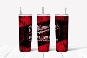 20oz skinny Stainless steel tumbler Milwaukee Fuel theme