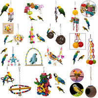 Pet Bird Bites Parrot Climb Chew Toys Bell Swing Cage Hanging Cockatiel Parakeet