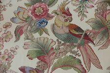 "Lee Jofa Fabric Design ""cockatoo & Palm"" 6 Metres Multi on Cream 100 Linen"