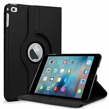 BLACK Rotating  iPad MINI 4 Leather Cover Case + Screen Protector A1538 A1550