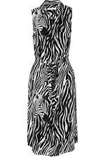 Equipment Zebra Print Silk Knee Length Belted Dress Shirtdress Black XS NWT