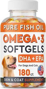 Omega 3 Fish Oil Dogs No Fishy Smell EPA + DHA Fatty Acid Shedding Itchy 180 ct