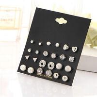12Pairs Set Womens Fashion Pearl Crystal Heart Stud Triangle Earrings Jewelry