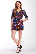 NEW YUMI KIM Liz Silk Bow Belt Surplice Floral Print Romper Jumper black S