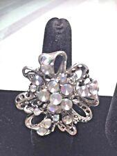 FLOWER Rhinestone Crystal Silver Tone Cluster Stretch ADJUSTABLE Ring