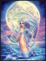 Moon Mermaid - Chart Counted Cross Stitch Pattern Needlework Xstitch DIY Craft