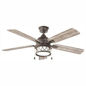 Home Decorators Artshire 52 in. LED Indoor/Outdoor Natural Iron Ceiling Fan