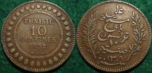 SCARCE-1892 LARGE COPPER 10 CENTIMES TUNISIA**NICE DETAILS**