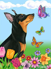 Butterfly Garden Flag - Miniature Pinscher 982221