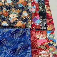 Japanese Sakura Bronzing Cotton Fabric Floral Patchwork DIY Quilting Sewing Craf