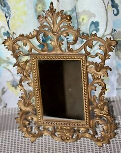 ANTIQUE Cast Iron Frame FANCY VICTORIAN Table Top EASEL Mirror GOLD FOLIAGE