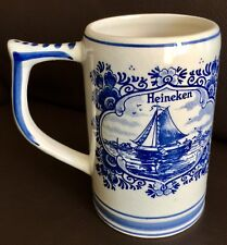"Vintage (1950s) Delft Pottery (Holland) Blue Hand Painted 6""/15cm Tankard"