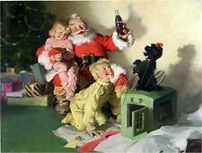 SANTA COKE COLA POODLE CHRISTMAS CHILDREN TOYS  VINTAGE CANVAS ART PRINT
