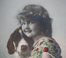 Vintage real  photo POSTCARD Girl LOVES German Wire haired pointer Griffon dog