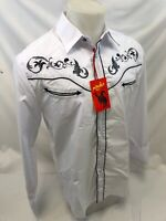 Men RODEO WESTERN WHITE BLACK STITCH Long Sleeve Woven SNAP UP Shirt Cowboy 518