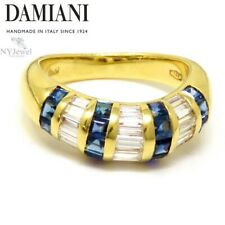 NYJEWEL Damiani 18k Yellow Gold 2ctw Sapphire & Diamond Wavy Ring
