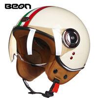 BEON Brand Motorcycle 3/4 Half Face Helmet Scooter Vintage Retro Racing Helmets