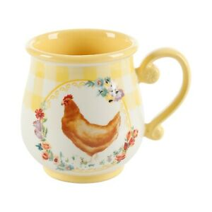 Pioneer Woman Novelty Gingham Chicken Mugs 16oz Yellow  Color Brand New