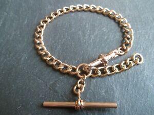 Vintage Rose Gold Plated Albert Pocket Watch Chain / T-Bar Bracelet