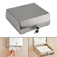 Brushed Stainless Steel Metal Fold Paper Hand Towel Wall Dispenser Convenient