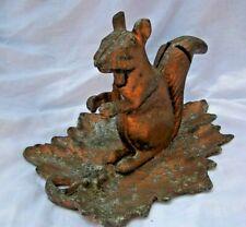 """Cast iron SQUIRREL NUT CRACKER on grape leaf TRAY / Bowl 11 1/2"""" x 8"""" Tall"""