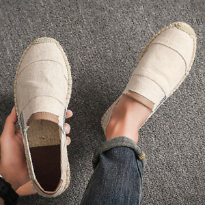 Men's Linen Canvas Cloth Shoes Causal Breathable Loafer Slip On Espadrilles New