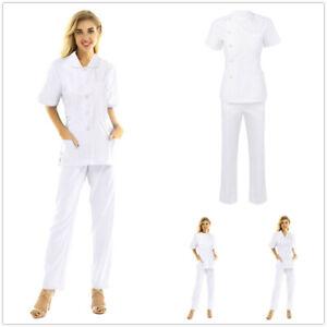 Women Doctor Nurse Healthcare Uniform Hospital Scrub T-shirt Top Long Pants Suit