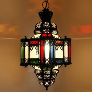 Lampe Arabe Marocaine Lampe Suspendue Lanterne Moulaoulidat Verre Dépoli Multi