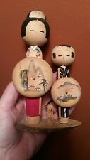 VINTAGE TRADITIONAL JAPANESE WOODEN KOKESHI DOLLS HAND CRAFTED HAND PAINTED