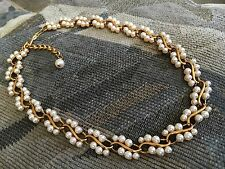 """Stunning Napier Cultured Pearl & Gold Tone Setting Links Necklace 15"""" w/ 2"""" ext"""