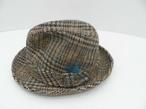 "Vintage Resistol Brown Plaid Tweed Fedora Men's Hat Feather 21"" Diameter -VGC"