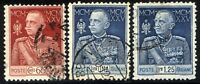 Regno d'Italia 1925/26 Giubileo del Re S37 n. 189/191 - dent. 11 - usati (l195)