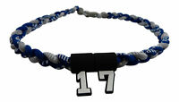 NEW! Navy Blue Gray Braided Tornado Necklace w/ YOUR NUMBER Baseball Softball